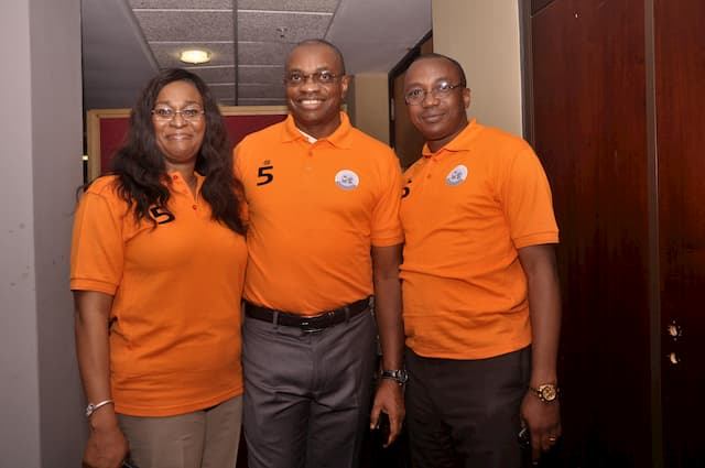 L-R, Chairperson of the Foundation, Mrs. Ntekpe Inoyo, Mr. Udom Inoyo of ExxonMobil and Mr. Usen Udoh of Accenture