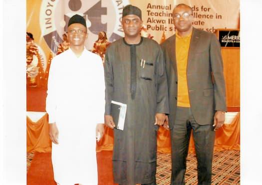 L-R, Mal. Nasri El-Rufai, a Guest and Mr. Usen Udoh of Accenture
