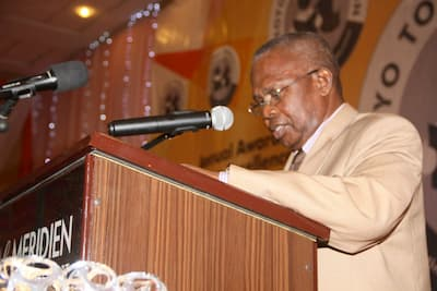 Chairman of the Award Ceremony, Major General Edet Akpan (rtd) presenting his address