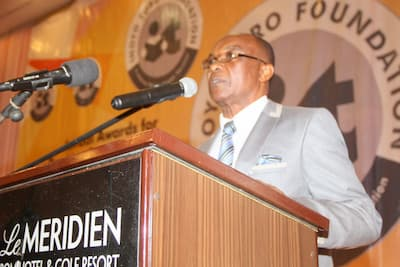 Chairman of the awards screening committee, Dr Enobong Joshua presenting the opening address