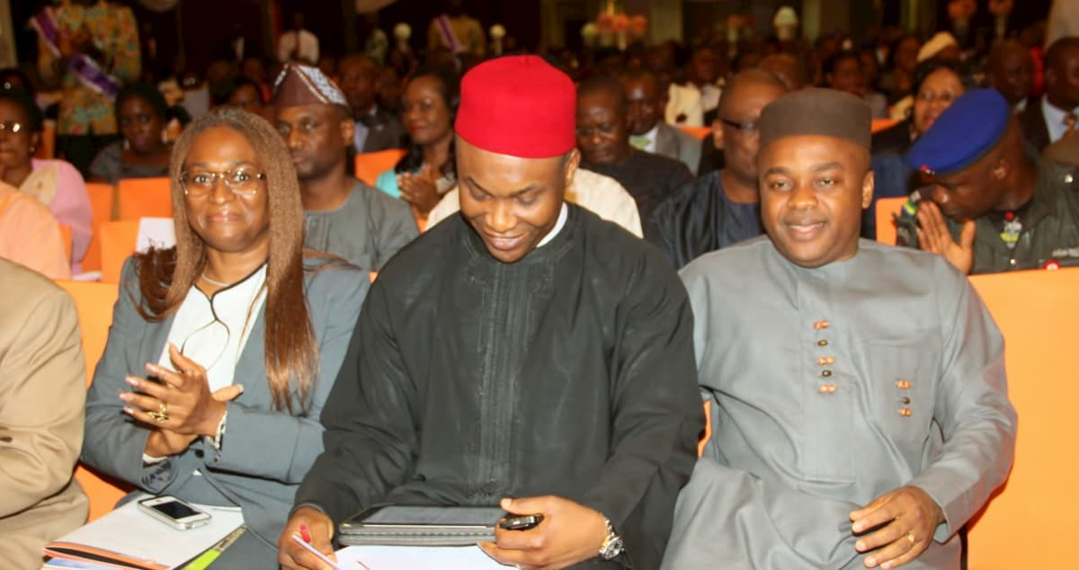 L-R Chairperson of the Foundation, Mrs Ntekpe Inoyo, Guest Speaker, Mr Osita Chidoka and Speaker Akwa Ibom State House of Assembly
