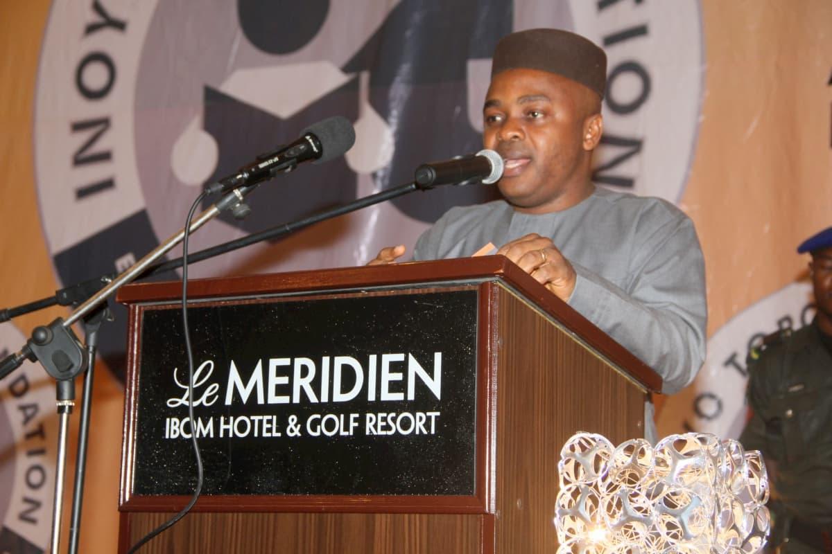 Speaker, Akwa Ibom State House of Assembly Rt Hon Sam Ikon, presenting an address at the award ceremony