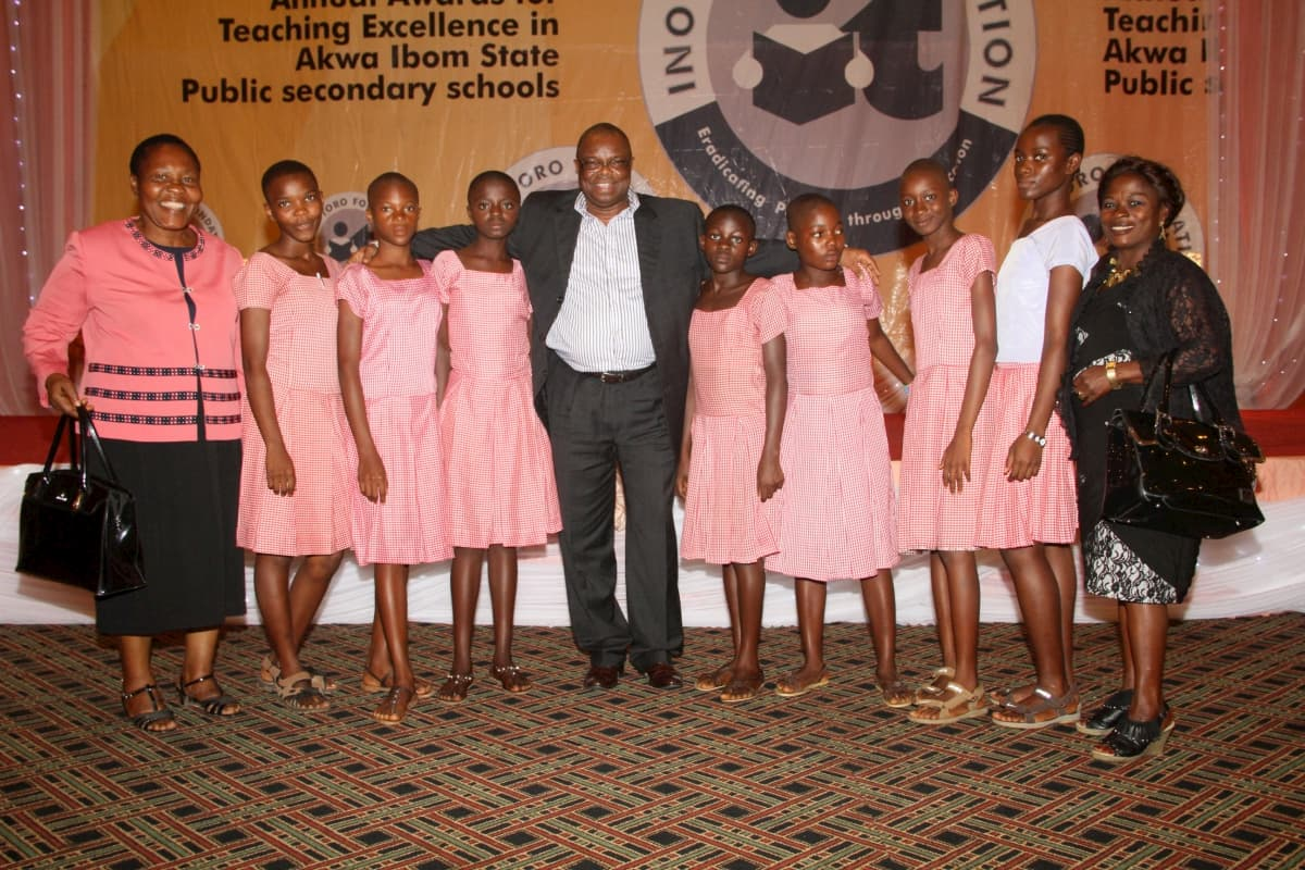 Students of Mary Hanney Secondary School, Oron and their mentor Mr Emeka Obi of Addax Petroluem (c)