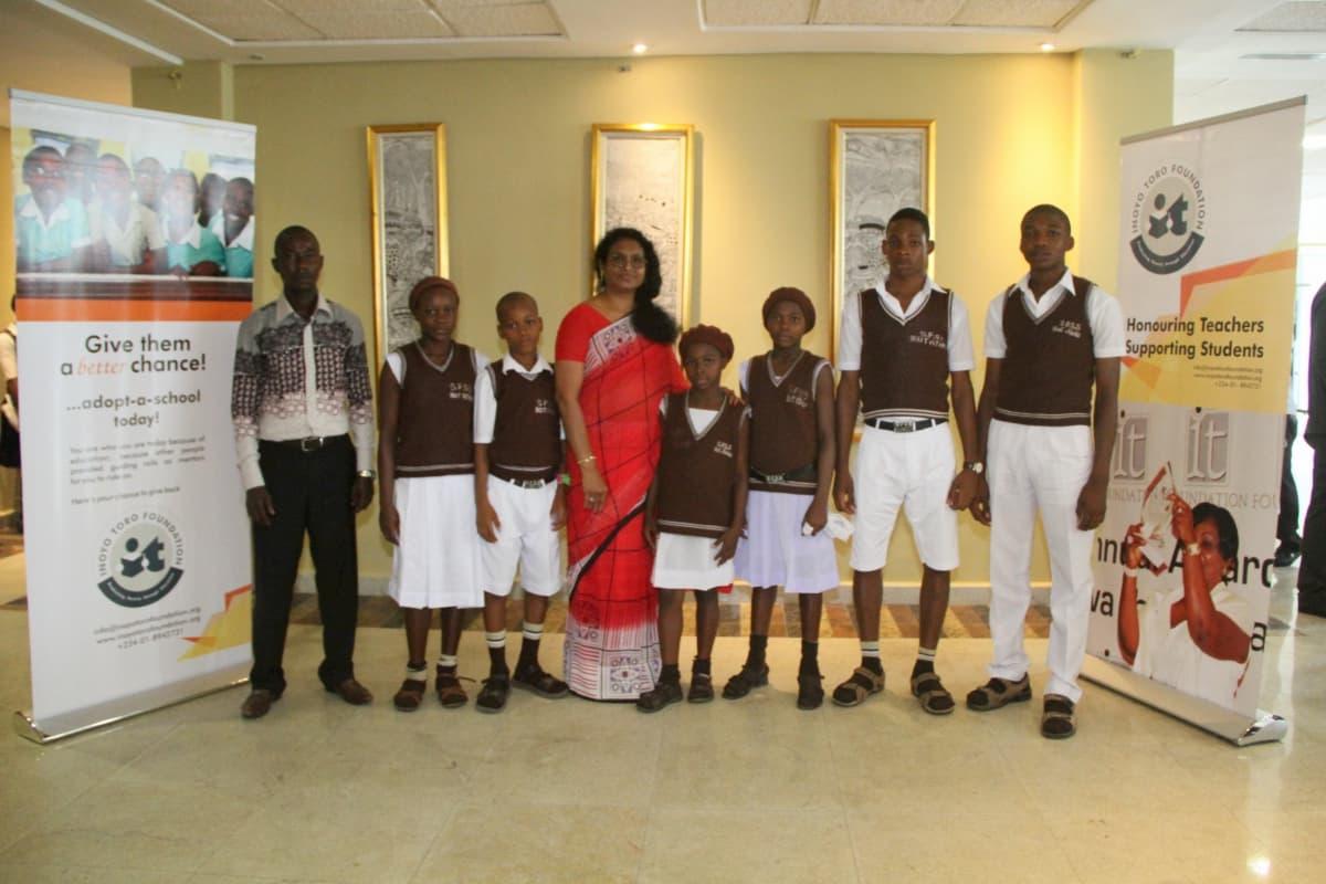 Students of St Francis Secondary School, Ikot Ataku, Eket and their mentor Lakshmi Tombush (c)