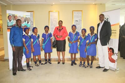 Students of St Theresa Secondary School, Edem Ekpat, Etinan and a representative of their mentor Richard Esin (1st right)