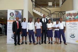 Students of Asong Community Secondary School, Asong, Mkpat Enin LGA and their mentor Usoro Usoro (c)