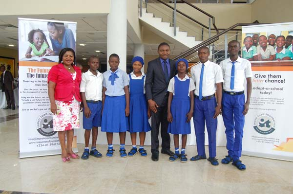 Students of Community Secondary School Ukuko, Urue Offong Oruko LGA and their mentor Esomoh Effiong (c)