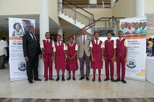 Students of Competent Comprehensive Secondary School, Nkara Obio, Ikono and their mentor George Iyangette (c)