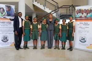 Students of Girls High School, Ikot Ibiok, Eket LGA and their mentor Kafayat Oluwa (c)