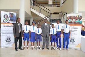 Students of Salvation Army Secondary School, Akai Ubium, Nsit Ubium LGA and a representative of their mentor Inuaesit Edemekong (c)