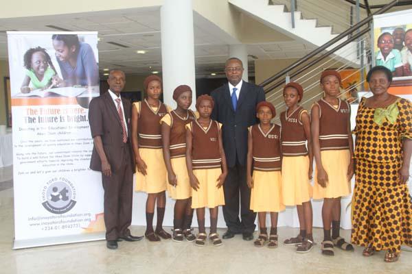 Students of Union Secondary School, Ibiaku, Ibiono Ibom LGA and their mentor, Dr Ini Urua (c)