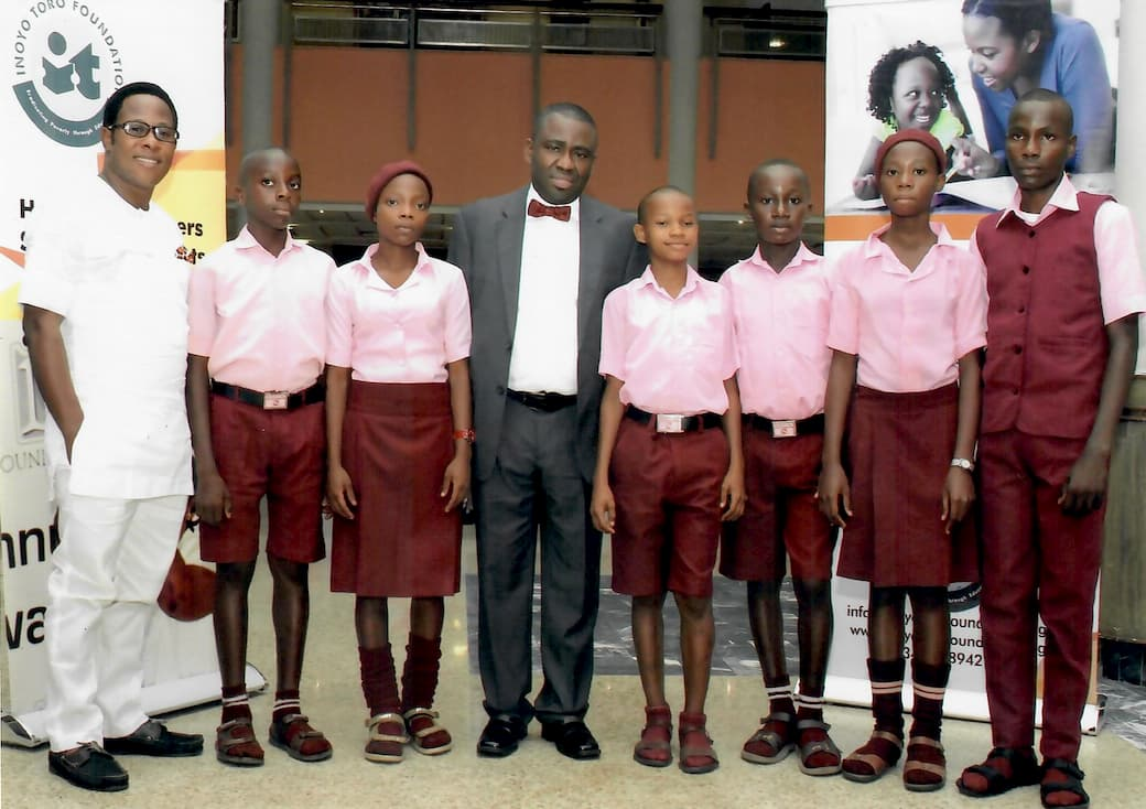 Students of Community Secondary School, Nkek with Dr. George Akpan