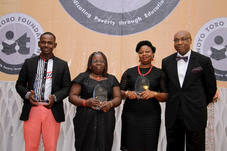 L-R: GODWIN IKOTOKPO - 3RD POSITION ENGLISH; IDOREYIN ANTIA - 2ND POSITION ENGLISH; CAROLINE ASUQUO - 1ST POSITION ENGLISH; MR BONI AKPAN - SPONSOR OF THE AWARD