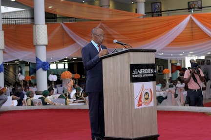 DR. ENOBONG JOSHUA CHAIRMAN SCREENING COMMITTEE GIVING THE WELCOME ADDRESS