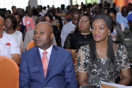 THE GUEST SPEAKER OF THE OCCASION MAJOR GENERAL ISIDORE EDET AND WIFE