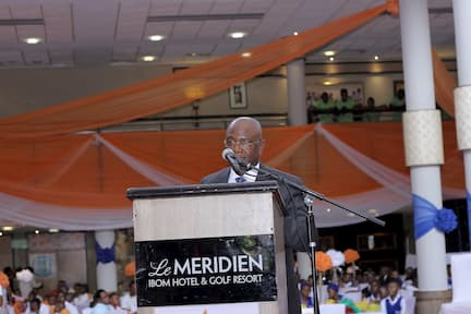 THE SECRETARY TO THE STATE GOVERNMENT DELEVERING THE SPEECH ON BEHALF OF THE EXECUTIVE GOVERNOR OF AKWA IBOM STATE MR UDOM EMMANUEL