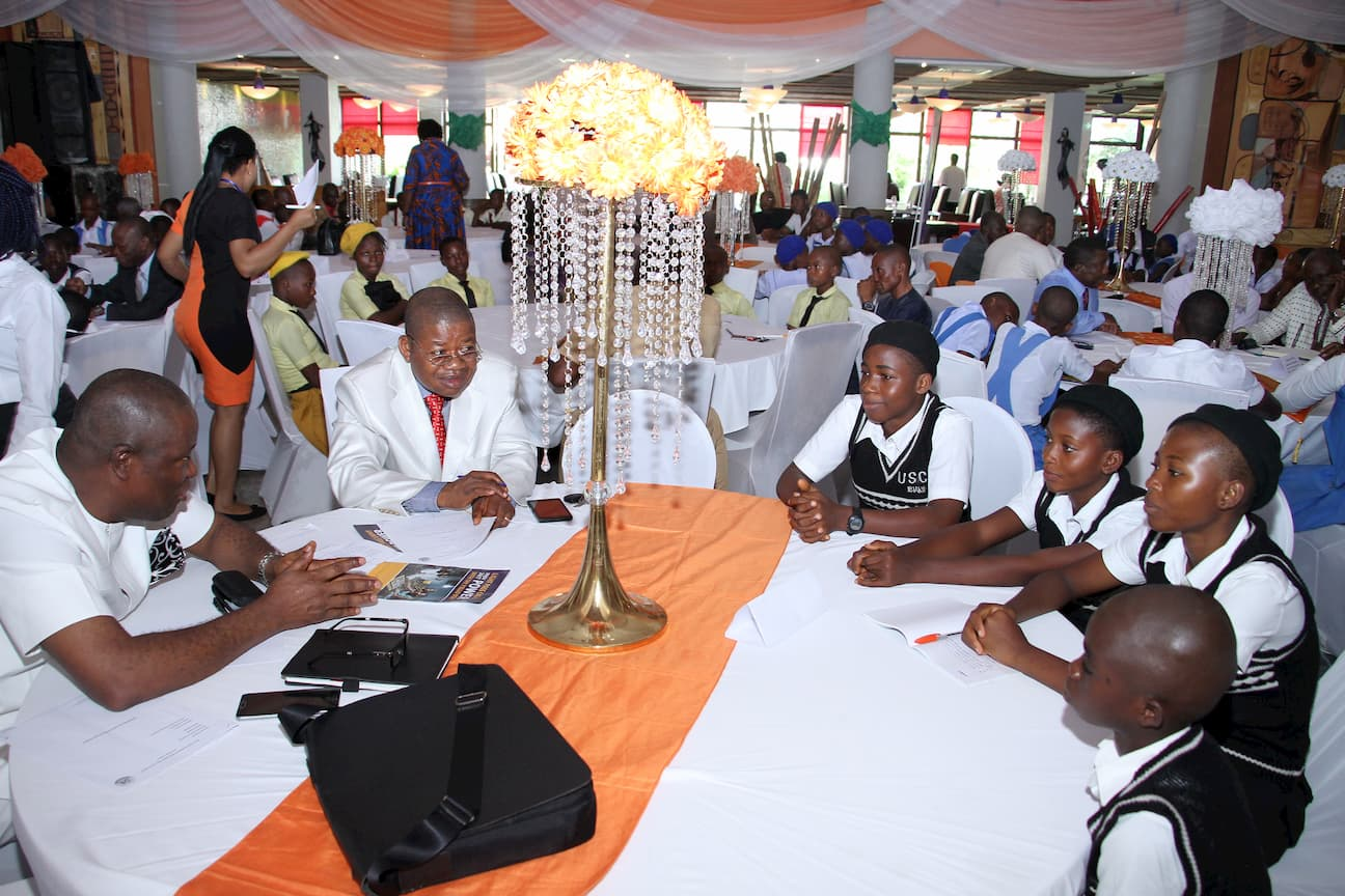 MR EBEBE UKPONG MENTORING THE STUDENTS OF HIS ADOPTED SCHOOL URBAN SECONDARY COMMERCIAL SCHOOL IBIAKU NTUK OKPO