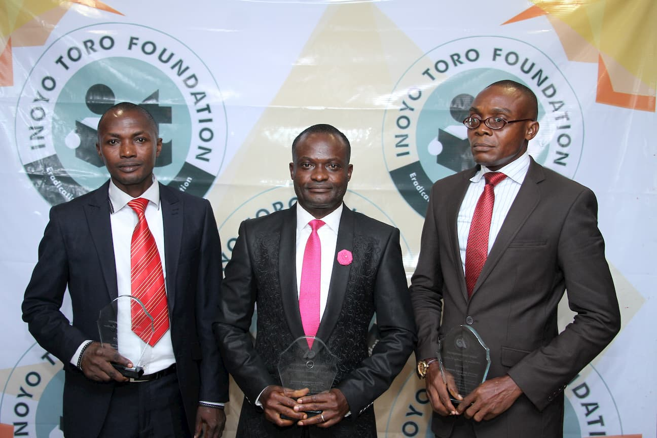 AWARDED TEACHERS IN CHEMISTRY. FROM RIGHT 1ST PLACE WINNER GABRIEL UKPABIO, 2ND PLACE GODWIN AKPAN, 3RD PLACE FRANCIS WILLIE