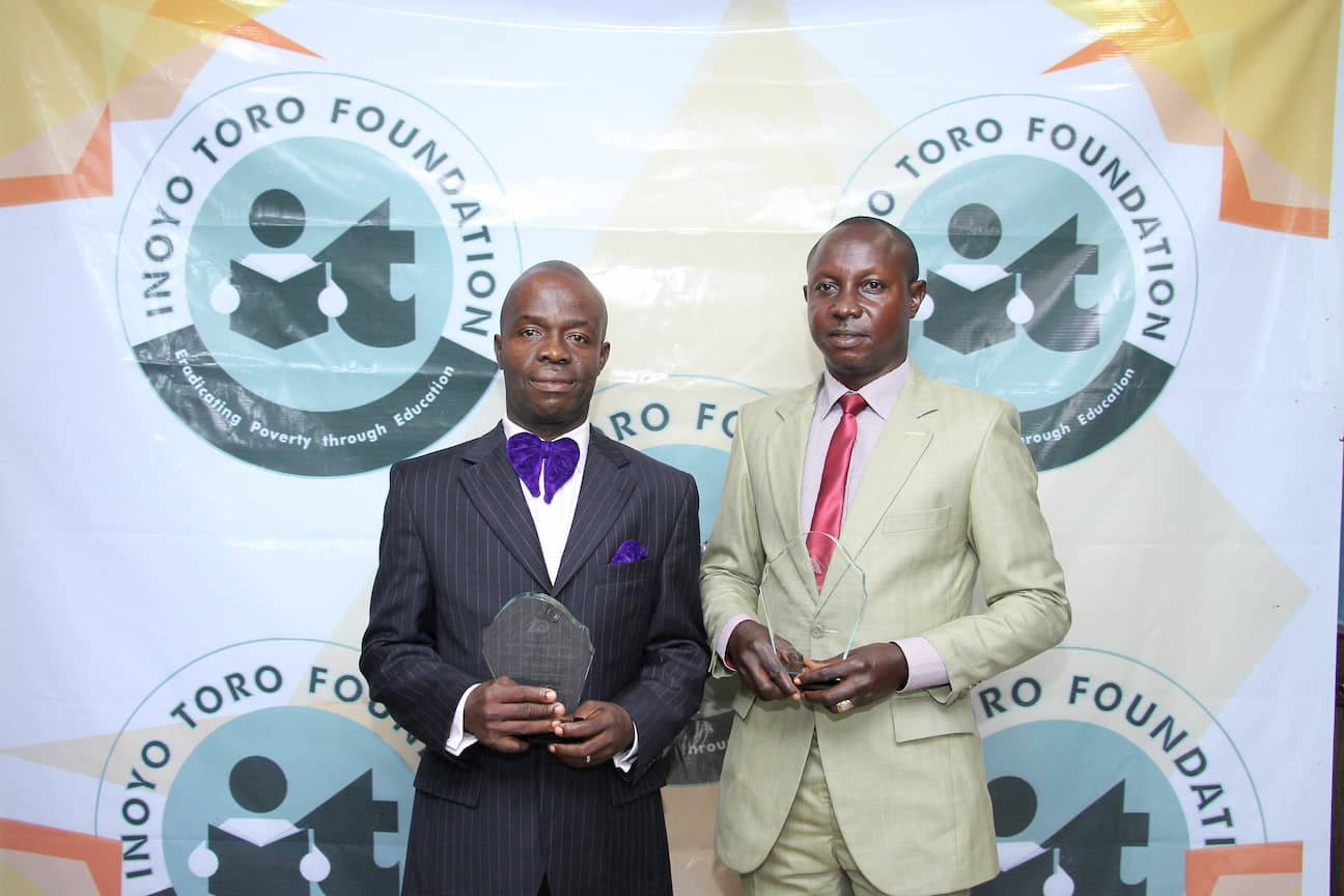 AWARDED TEACHERS IN PHYSICS. FROM LEFT 2ND PLACE WINNER MICHAEL EKANEM, 3RD PLACE NDIFREKE UDOH