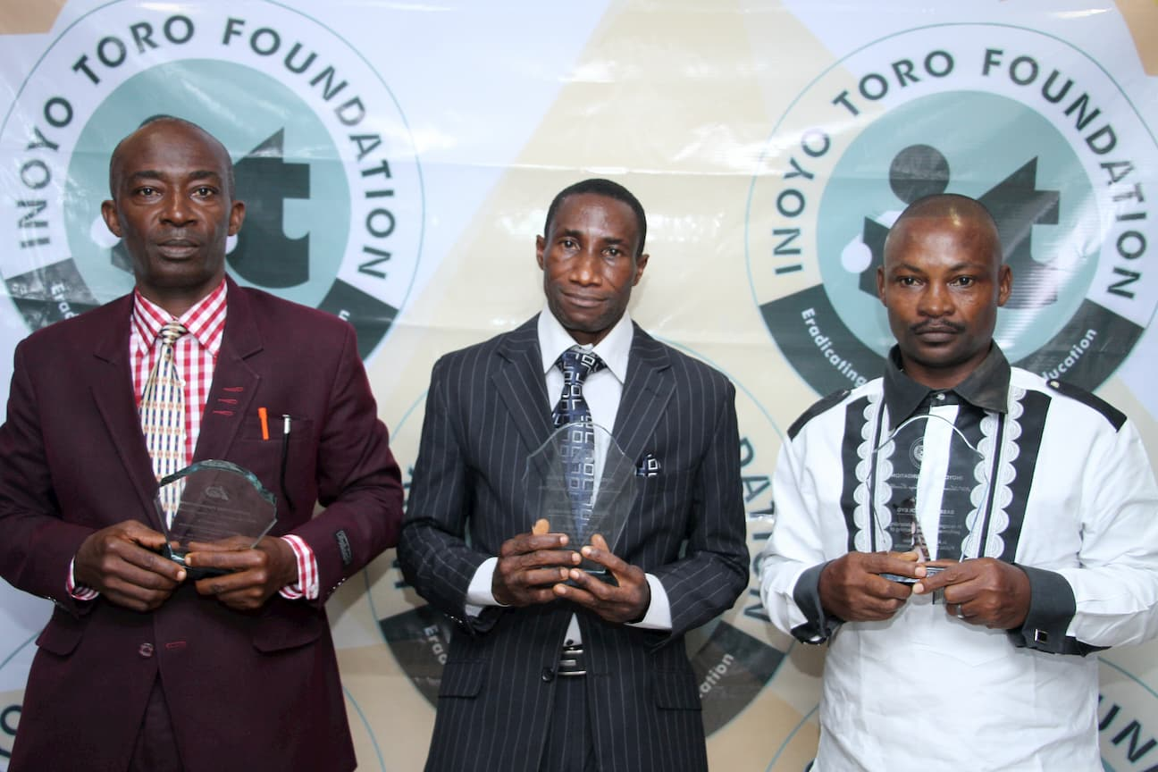 TEACHERS AWARDED IN ECONOMICS, FROM RIGHT 1ST PLACE WINNER BASSEY EYO, 2ND PLACE ANIEKAN UDOH, 3RD PLACE UWEM AKPAKPAN