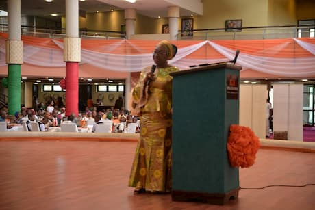 The Guest Speaker Mrs Winifred Oyoita giving her speech
