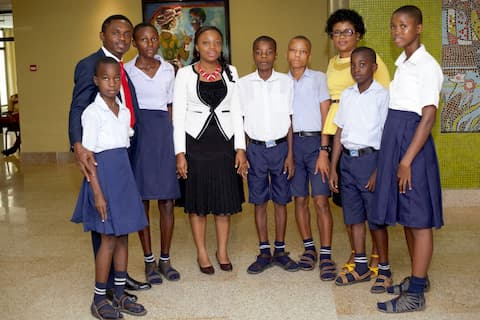 Mr. Emmanuel Tishion and the students of Community Sec Sch Ikot Abia Idem Ikot Enwang