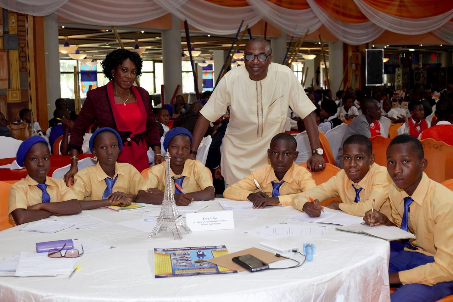 Mr. Usen Udoh and the students of his adopted school St. Mary's Sec. Com. Sch Ikot Nseyen