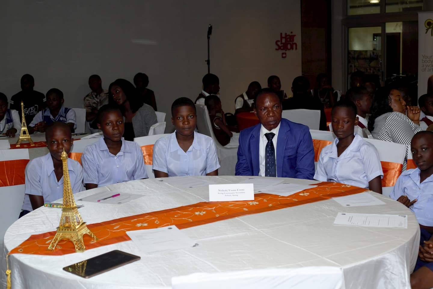 The Principal and the students of Asong Community Secondary School during the Mentoring clinic