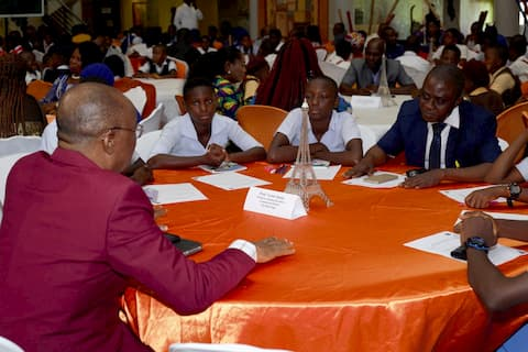 The students of Northern Anang Sec. Sch Utu Etim Ekpo being mentored by Dr. Joshua during the mentoring clinic