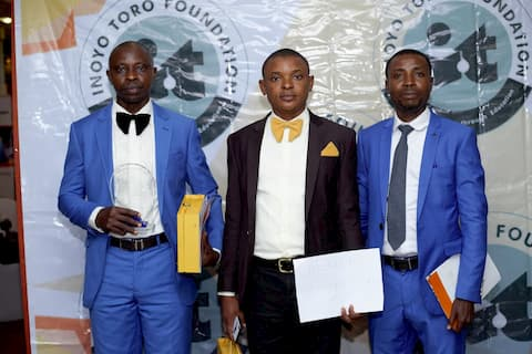 Awardees in Chemistry form L to R, Ekere Mkpa 1st price, Utibe Orok 2nd price, Francis Etteben 3rd price winner
