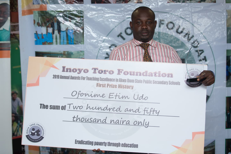 1st Prize History Mr. Ofonime Etim Udo of Com Sec Sch Mbak Etoi of Com. Sec. Sch. Mbak Etoi
