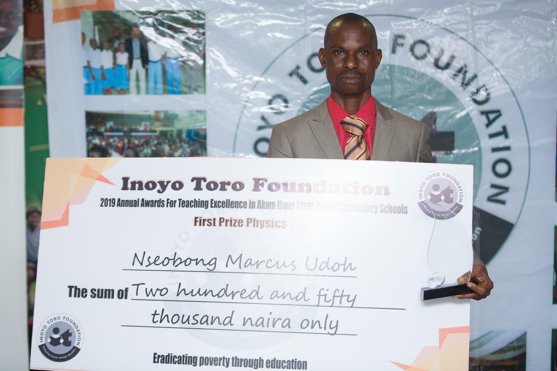 1st Prize winner Physics Mr. Nseobong Marcus Udoh of Western Annang Sec. Com. Sch. Ikot Akpa Nkuk, Ukanafun