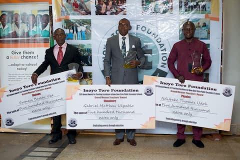 "Grand Mentor Winners from left to right Francis Ube- Biology; Gabriel Ukpabio-Chemistry ; Physics Ndifreke Thomas Physics"""