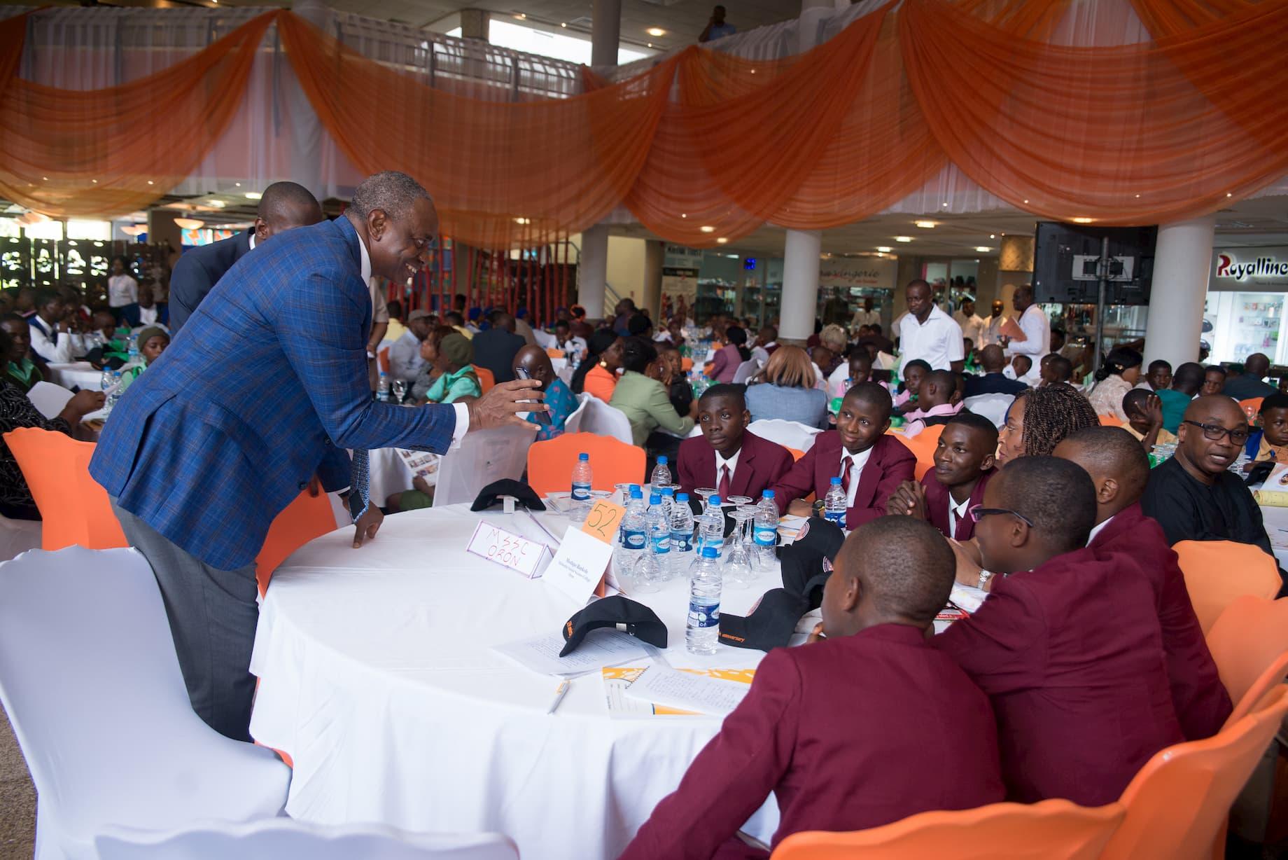 Mr. Inoyo addressing the students of Methodist Senior Science College Oron