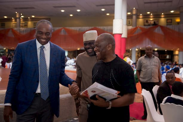 Mr. Inoyo exchanging pleasantaries with the Hon. Com. Culture & Tourism Mr. Orman Esin and Mr. Bassey Umoh MD Upstream Accugas