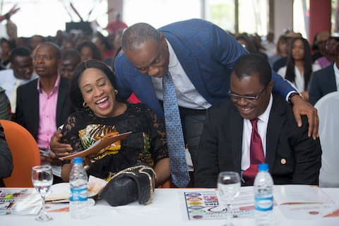 Mr. Inoyo Founder ITF exchanging pleasantaries with the guest speaker Mrs Ini Abimbola and the Hon. Com for Education Prof. Nse Essien