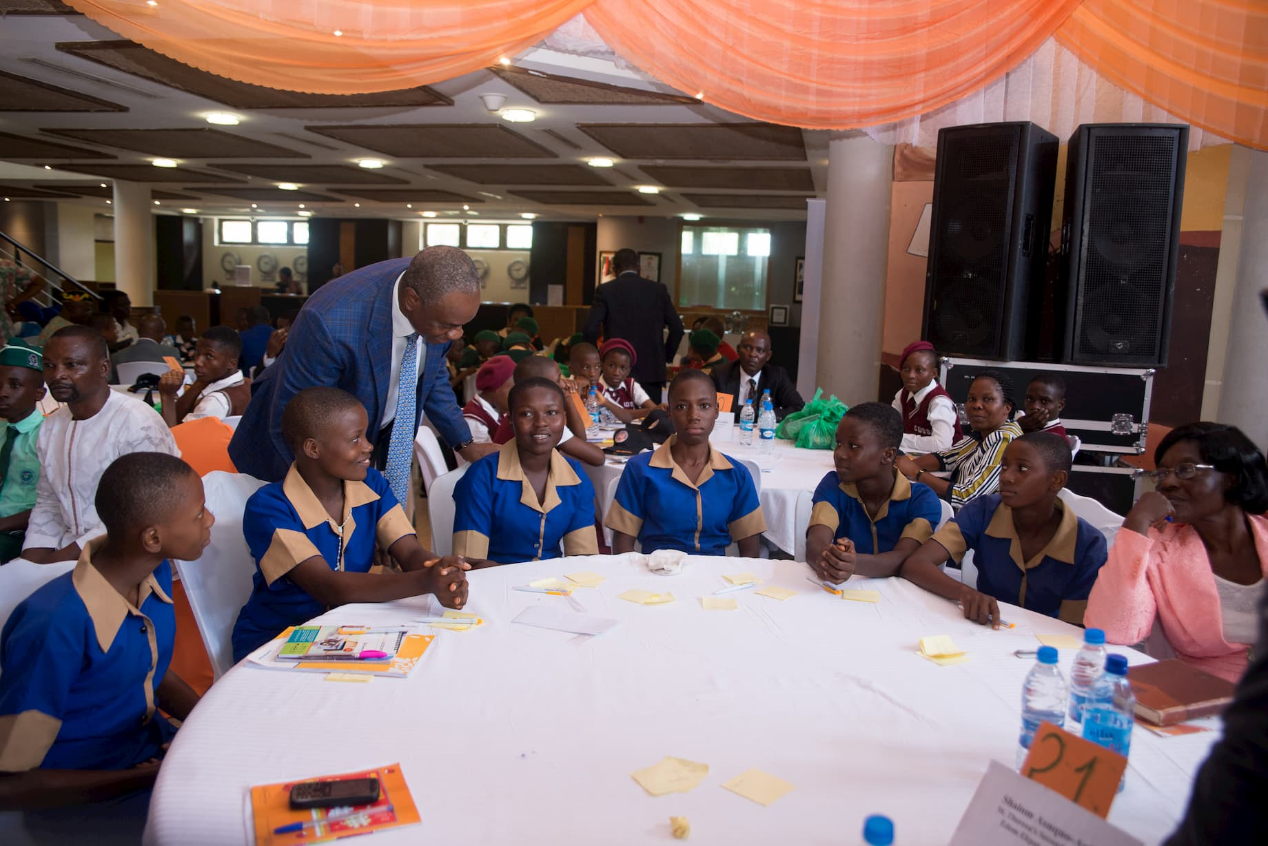 Mr. Inoyo interacting with the students of St. Theresa's Sec. Sch, Edem Ekpat. Shalom Ankoh's adopted school