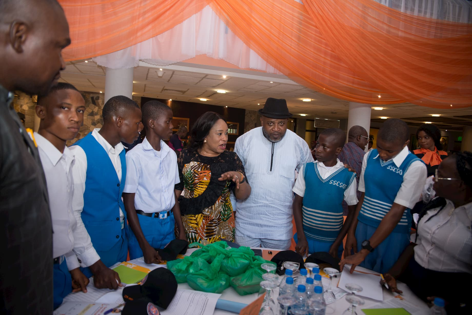 Mr. Kufre Ekanem and the students of his adopted school State Sec. Com. Sch, Okop Eto Rd, Ikot Ekpene