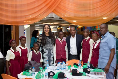 Mr. & Mrs. Charles Edelduok and the students of their adopted school Oniong West Com Sec Sch, Ikot Edor