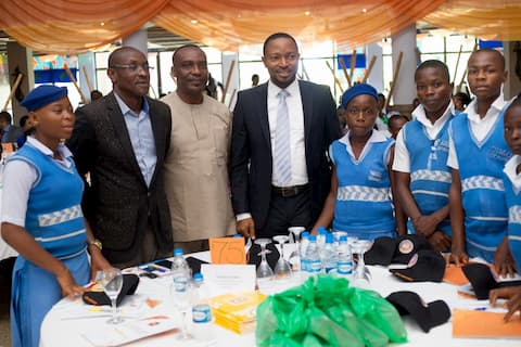 Mr. Nkekere Udom and the students of his adopted school Western Annang Sec Com Sch, Ukanafun