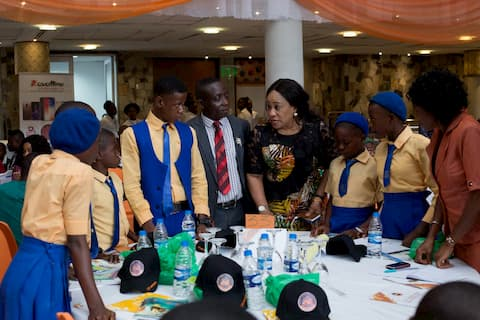 Mrs Ini Abimbola Guest Speaker of the 12th Anniversary speaking with the students of St Mary Secondary Com Sch Ikot Nseyen