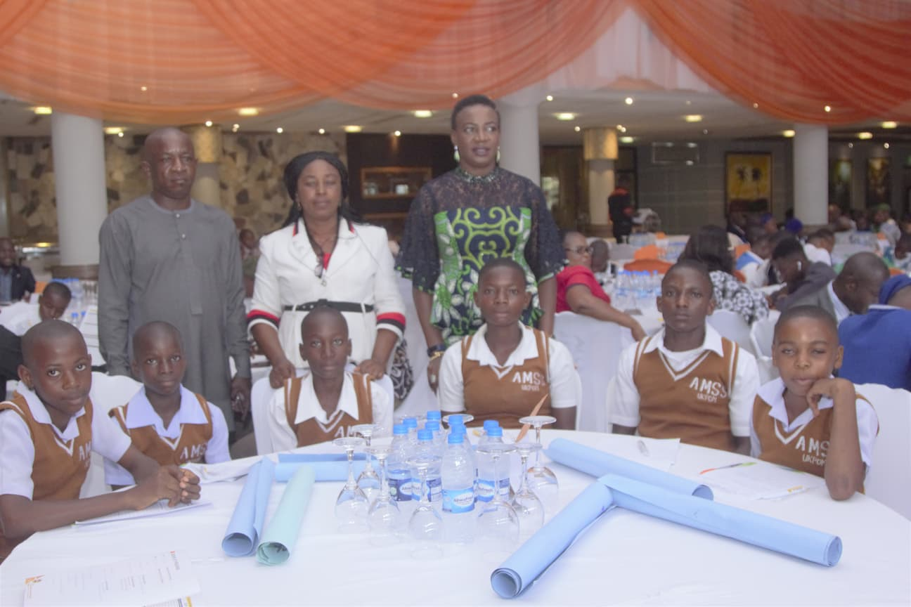 Mrs. Lebari Ukpong and the students of their adopted school