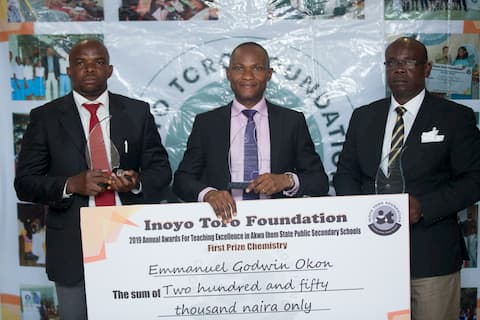 Winners in Chemistry from left to right Uduak Nicholas 2nd place, M-Emmanuel Godwin 1st place, Victor Antai 3rd place