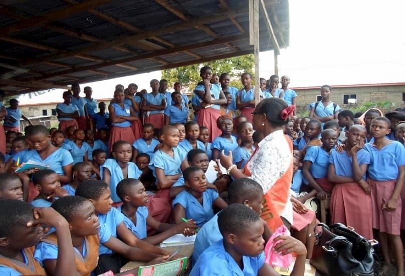 Dr. Imaobong Udousoro addressing the girls