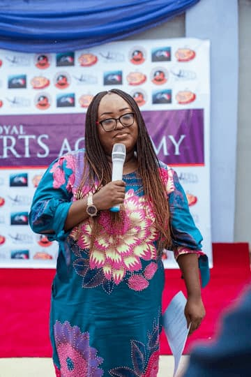 Mrs Emem Isong Misodi giving a speech at the opening of her academy in Uyo